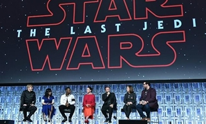 Mark Hamill, Kelly Marie Tran, John Boyega, Daisy Ridley, Rian Johnson, Kathleen Kennedy and Josh Gad attend the Star Wars Celebration Orlando 2017, on April 14