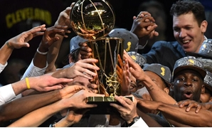 Golden State Warriors` players celebrating the title, NBA Official website