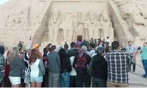 A number of tourists witnessing the Sun Festibal at Abu Simpel temple in Aswan - photo by Fayiza Marsal