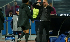 Champions League - S.S.C. Napoli vs Manchester City - Stadio San Paolo, Naples, Italy - November 1, 2017 Manchester City manager Pep Guardiola and Manchester City's Leroy Sane celebrate REUTERS