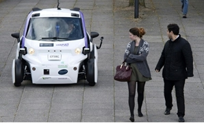 An self-driving vehicle being tested in a pedestrian zone of London - AFP