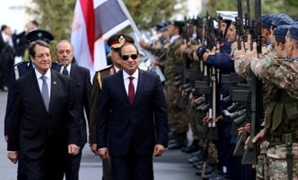 President Abdel Fatah al-Sisi with his Cypriot counterpart after his arrival at Nicosia - Nov 20 - press photo