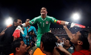 Egypt's Essam El Hadary and teammates celebrate World Cup qualification after the match. REUTERS/Amr Abdallah Dalsh