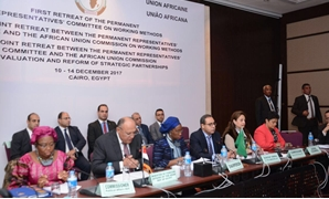 Foreign Minister Sameh Shoukry delivering a speech in the closing session of the Joint Retreat between the Permanent Representatives and the African Union Commission, Wednesday, December 14, 2017 – Press Photo