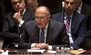 Egyptian Foreign Minister Sameh Shoukry speaks during a United Nations Security Council meeting about the situation in Libya in the Manhattan borough of New York February 18, 2015. REUTERS/Carlo Allegri