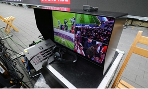 Soccer Football - Bundesliga - Bayer Leverkusen vs Cologne - BayArena, Leverkusen, Germany - October 28, 2017. General view of the Video Assistant Referee equipment before the match - REUTERS/Wolfgang Rattay
