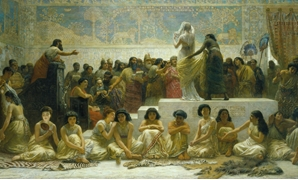 """The Babylonian Marriage Market"" painting, by Edwin Long – Photo Courtesy of Wikipedia"