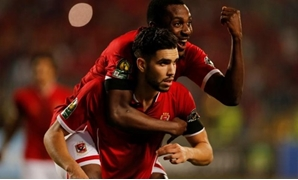 Soccer Football - CAF Champions League - Semi-Final - Al Ahly vs Etoile du Sahel - Borg El Arab Stadium, Borg El Arab, Egypt - October 22, 2017 Al Ahly's Walid Azaro celebrates scoring a second goal with team mates REUTERS/Amr Dalsh