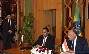 Closing session of the Ministerial Meeting between Minister of Foreign Affairs Samah Shoukry and Ethiopian Prime Minister Hailemariam Desalegn - Press Photo
