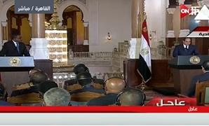 TV Screenshot of Egypt - Ethiopia joint press conference in Cairo Thursday, January 18, 2018.