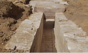 The discovered passageway leading to the interior of the pyramid - Photo courtesy of the Ministry of Antiquities