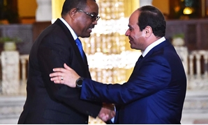 President Abdel Fatah al-Sisi (R) shake hands with Ethiopian Prime Minister Hailemariam Desalegn (L) during their meeting on Thursday, January 18, 2018 - Press photo