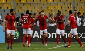 Al Ahly's Walid Azaro celebrates scoring a goal with team mates REUTERS-Amr Dalsh