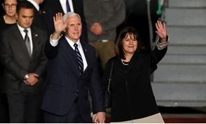 U.S. Vice President Mike Pence and his wife Karen wave upon their arrival at Ben Gurion international Airport in Lod, near Tel Aviv, Israel January 21, 2018. REUTERS/Ammar Awad