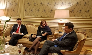 Chairman of the Egyptian Parliament's Foreign Affairs Tarek Radwan meets with the Portuguese Ambassador to Egypt, Madalena Fischer, January 21, 2018 - Press Photo