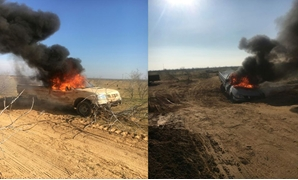 A pick-up car was destroyed by the military forces in North Sinai- photo courtesy of military Spokesperson's Facebook page