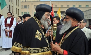 Egypt's Pope Tawadros II greets Ethiopia's Abune Mathias I, Patriarch of the Ethiopian Orthodox Tawahedo Church in a visit to Egypt in 2015 - Press photo