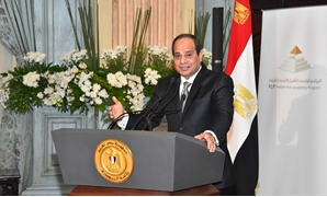 President Abdel Fatah al-Sisi is giving a speech after having breakfast with a group of PLP students during the month of Ramadan on June 20, 2016- Press Photo