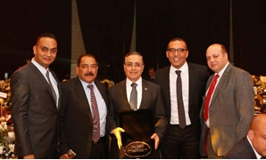 Mohamed Galal, executive manager; Hani Fekry, Manager of Contracting, Walid Elbansly, the finance manager, Yasser Kamal, the Public relations Manger of UCP were awarded at BT100 cermony - Egypt Today