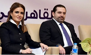 Lebanese Prime Minister Saad Hariri with Egyptian Investment and International Cooperation Minister Sahar Nasr on March 22, 2017 - File photo