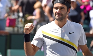 Mar 17, 2018; Indian Wells, CA, USA; Roger Federer (SUI) pumps his fist as he defeated Borna Coric (not pictured) during his semifinal match in the BNP Paribas Open at the Indian Wells Tennis Garden. Mandatory Credit: Jayne Kamin-Oncea-USA TODAY Sports