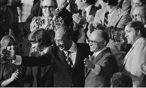 Anwar Sadat and Menachem BeginBegin after announcement of Camp David Accords - CC via Flickr, Warren K. Leffler 1978