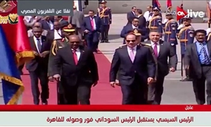 President Abdel Fatah al-Sisi received his Sudanese counterpart Omar al-Bashir on Monday at the Cairo International Airport- a screenshot from ON Live channel.