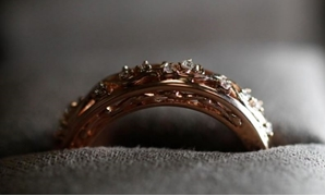 A wedding ring made from Welsh Gold is seen on display at the Clogau office in Bodelwyddan, North Wales, Britain, March 12, 2018. Picture taken March 12, 2018. REUTERS/Phil Noble