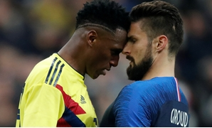 Soccer Football - International Friendly - France vs Colombia - Stade De France, Saint-Denis, France - March 23, 2018 France's Olivier Giroud clashes with Colombia's Yerry Mina REUTERS/Charles Platiau TPX IMAGES OF THE DAY