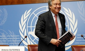 Antonio Guterres, United Nations High Commissioner for Refugees (UNHCR) smiles after a news conference at the United Nations in Geneva, Switzerland