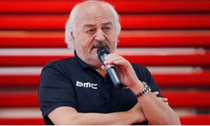 FILE PHOTO: BMC Racing Team's owner Andy Rihs of Switzerland speaks during the cycling team's official presentation in Nazareth, near Ghent January 11, 2013. REUTERS/Francois Lenoir/File Photo