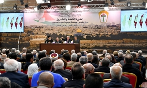 President Mahmoud Abbas speaking at the Palestinian Central Council - Press Photo