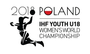 FILE - The 2018 Women's Youth World Handball Championship logo