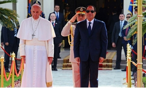 President Abdel Fatah al-Sisi with Pope Francis at Ittihadya Palace - Press Photo