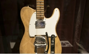 A Bob Dylan/Robbie Robertson 1965 Fender Telecaster guitar is displayed during a media preview in New York as part of the Music Icons auction.
