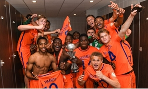Netherlands players celebrate victory- Photo Courtesy of UEFA Twitter