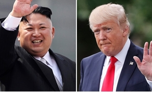 This combination of photos show North Korean leader Kim Jong Un on April 15, 2017, in Pyongyang, North Korea, left, and U.S. President Donald Trump in Washington on April 29, 2017. AFP