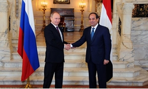 FILE - Egyptian President Abdel Fatah al-Sisi and Russian President Vladamir Putin during the latter's first visit to Egypt in 2015