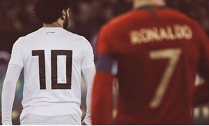 Mohamed Salah (10) with Cristiano Ronaldo (7) in Egypt vs Portugal match – Courtesy of Ahmed Kadry Photographer/ Instagram Account- @_ahmedkadry