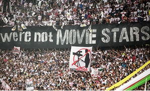 El Zamalek fans display a banner during their Egyptian Cup semi-final soccer match against Haras El Hodood in Cairo Stadium October 1, 2011 (Photo: Reuters)