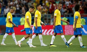 Brazil's Neymar, Philippe Coutinho, Thiago Silva, Miranda and Marcelo look dejected at the end of the match - REUTERS