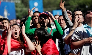 Soccer Football - World Cup - Group B - Portugal vs Morocco - Saint Petersburg, Russia - June 20, 2018. Morocco and Portugal fans react at Saint Petersburg Fan Fest. REUTERS/Henry Romero
