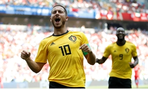 Soccer Football - World Cup - Group G - Belgium vs Tunisia - Spartak Stadium, Moscow, Russia - June 23, 2018 Belgium's Eden Hazard celebrates scoring their fourth goal REUTERS/Carl Recine