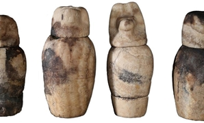 A  well-preserved set of canopic jars was discovered in the tomb of Karabasken (TT 391), in the South Asasif Necropolis on the West Bank of Luxor - Ministry of Antiquities Official Facebook Page.