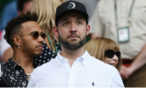 Proud: Alexis Ohanian, the husband of Serena Williams, watches the Wimbledon final