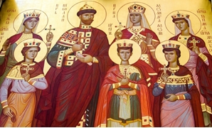 An Orthodox icon of the last Russian tsar and his family in a cathedral built on the exact place where the Bolsheviks executed them.