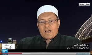 "Self-proclaimed imam Mostafa Rashid during an interview in January 2016 – Youtube still from ""Al-Azhar's Mostafa Rashid: Alcohol is not forbidden! Part 2.""/ France 24 Arabic official channel."