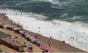 FILE-Al Nakheel Beach in Alexandria may be closed due to the waves' high speed and whirlpools