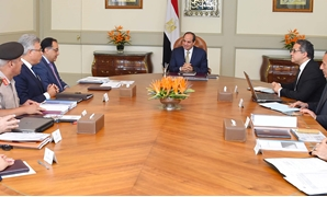 President Abdel Fatah al-Sisi's meeting with Prime Minister Mostafa Madbouly, Minister of Antiquities Khaled al-Anany, Chairman of the Administrative Control Authority (ACA) Mohamed Erfan, Giza Governor Mohamed Kamal el-Daly, and Chief of the Engineering