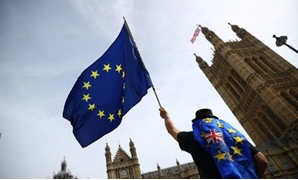 FILE PHOTO: An anti-Brexit demonstrator waves flags outside the Houses of Parliament, in London, Britain, September 10, 2018. REUTERS/Hannah McKay